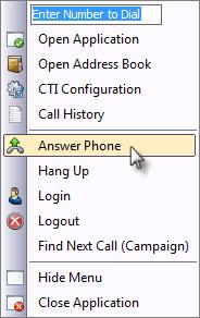 CTI Client Tray Menu Answer Call